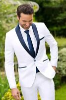 2018 White Navy Lapel Men Wedding Suit Slim Fit 2Pcs Tuxedo Groomsman Custom