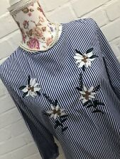 Zara Blouse Small Blue White Stripe Embroidered Floral Top Cotton Blend