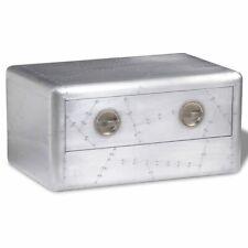 vidaXL Aluminum Aviator Coffee Side Bedside Table Storage Nightstand 1 Drawer