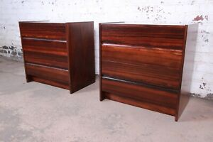 Danish Modern Rosewood Bachelor Chests or Large Nightstands, Newly Restored