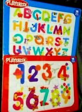 Lot of 2 PlaySkool Number and Letter Cardboard Frame Tray Puzzles 16 Pieces Each