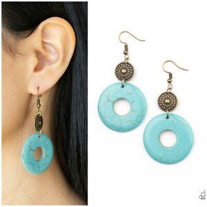 Paparazzi ~ Earthy Epicenter Blue/Brass Earrings