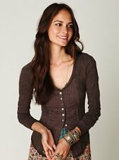 Free People Gypsy Driftwood Brown Boho Buttonfront Top Cardigan Violet Harmon