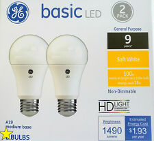 Soft White A19 NON-Dimmable Light Bulb, 16W  (as 100W bulb), 2/Pack