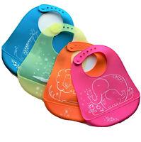 Baby Bibs Silicone Unisex Animal Figures set of 2 or 3 Waterproof Adjustable