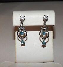 Vintage Signed CR Co Reis Co. 1/20 12 kt White Gold Rhinestone Dangle Earrings