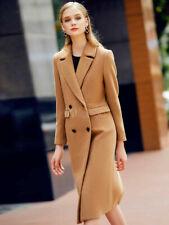 Women's Camel Pea Coat Long Sleeve Notch Collar Wool Coats New Size 8