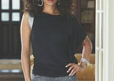 NEW WOMENS MIDNIGHT VELVET BLACK TALITHA BARE SHOULDER TOP BLOUSE SEQUIN TRIM XL