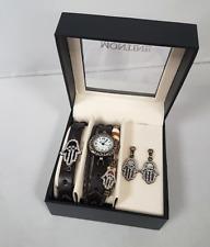 Montine Mujer Cuero Reloj Set de Joyería hasma Mano Colgante Adorno Pendientes