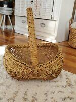 LARGE Vintage Splint Buttock Egg Basket Gathering Woven Farmhouse Primitive