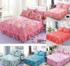 Floral Bedspread Bed Skirt Non-slip Fitted Sheet Cover Graceful 3pcs Double Lace