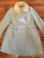 Stunning George Mint Green Winter Coat With Fur Collar Size 16