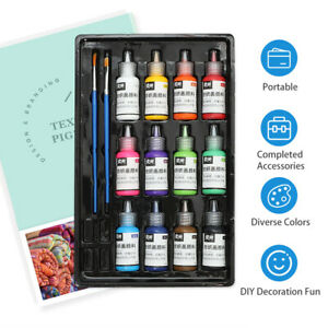 12 Colors Fabric Paint Set Kit 60ml Each Bottle Textile Paint for Canvas R0D1