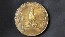 ANTIQUE METAL MEDAL NATIONAL EMERGENCY DAY 1915 FRANCE COMMEMORATIVE COCK