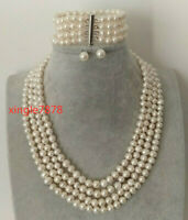 Genuine 4 Rows White Freshwater Cultured Pearl Necklace Bracelet Earrings 6-7mm