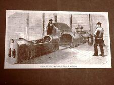 Incisione del 1864 Invenzione della posta pneumatica Tubo e carro di spedizione