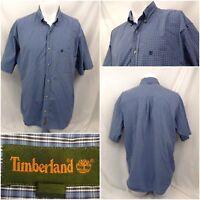 Timberland Shirt L Blue Plaid Short Sleeve Buttondown Mint Worn Once A350
