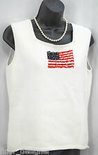 NEW LIZ CLAIBORNE Navy Red White bead Flag Knit Top Shell Cami Patriotic size M