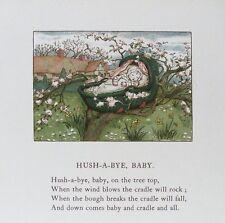Vecchia stampa di Kate GREENAWAY Hush un BYE BABY per BAMBINI Nursery Rhyme 1900 ANTICO