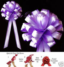 "Lavender Purple White 8"" Wedding Pull Pew Bow Bridal"