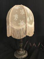 "CUTE Used Vintage Vanity Tulip Lamp With Fringe Shade 20"" Tall."