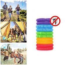 10x Mosquito Repellent Bracelets Natural Waterproof Spiral Deet Free Wrist Bands