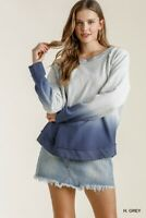 Umgee Dip Dyed French Terry Knit Long Sleeve Top Small Medium Large