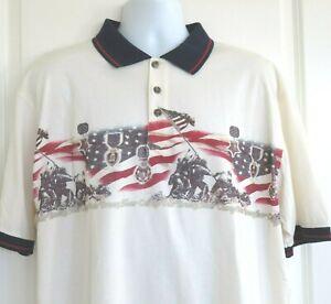 Redhead Men's Polo Golf Shirt US Flag Iwo Jima Courage Valor Bravery Size XL NWT