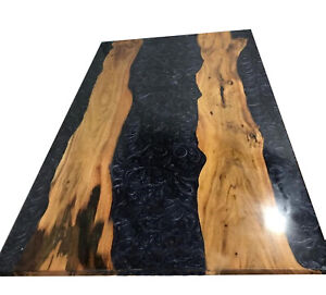 Black Epoxy Wooden Dining, Center, Side, Natural Wood Living Deco Made To Order