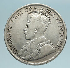 1919 C CANADA Newfoundland UK King George V Genuine SILVER 50 CENTS Coin i83313