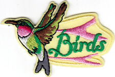 """BIRDS""- Iron On Embroidered Patch Hummingbirds Parrot Flamingo Bird"