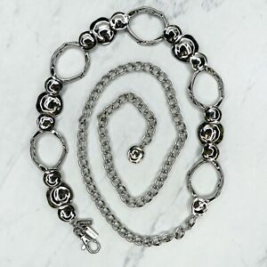 """Chico's Silver Tone Hammered Metal Belly Body Chain Belt One Size 23""""-50"""""""