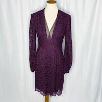 Diane Von Furstenberg Plum Purple Lace Dress Long Sleeve V Neck Womens Size 4