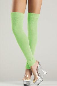 BW-711 Sexy Gogo Dancer Raver Outfit Clubwear Neon Green Thigh High Leg Warmers