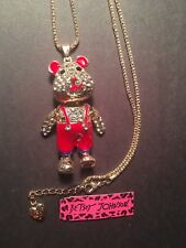 Red Enamel Crystal Bear Betsey Johnson Necklace with movable parts-BJ6227