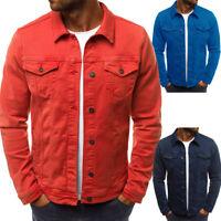 Men Casual Retro Denim Jean Jacket Spring Loose Nightclub Bar Coat Outwear Hot