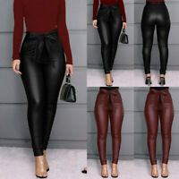 Women Leggings PU Leather Pants Stretchy Skinny Pencil Trousers High Waisted