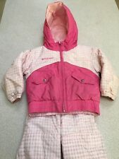 Columbia Winter Coat Snowpants Set Size 3T 3 Girls Pink Checkers Warm Reversible