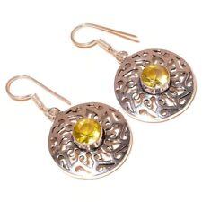 Faceted Lemon Quartz Circle Gemstone silver plated Handmade Filigree Earrings