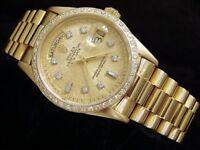 Mens Rolex Day-Date President 18k Gold Watch Linen Diamond Dial 1ct Bezel 18038