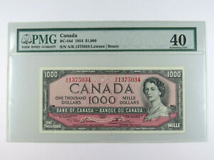 1954 $1000 Dollar Bank of Canada Banknote PMG Graded 40 EF A/K1375034 BC-44d