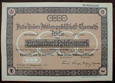 German Car Manufacturer AUDI 100 Reichsmark Chemnitz 1932 uncancelled
