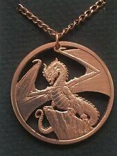 Welsh Red Dragon Cut Coin Pendant Copper DBRAIG GOCH