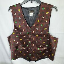 Vintage Loony Toons 100% Silk Vest Bugs Bunny Taz Marvin the Martian Etc S/M