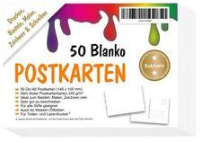 50 Blanko Postkarten DIY weiss A6 Papier selbst gestalten druck bemalen basteln