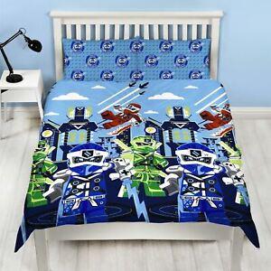 Lego Ninjago Double Duvet Cover Set Blue Lightning Boys Bedding 2-in-1 Design