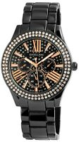 Excellanc Damenuhr Schwarz Strass Analog Chrono-Look Metall Quarz X1800151003