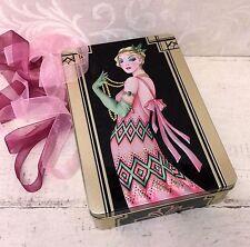 Gorgeous Churchills Flapper Rose Biscuit Tin Box EMPTY c 2017 Art Deco UK