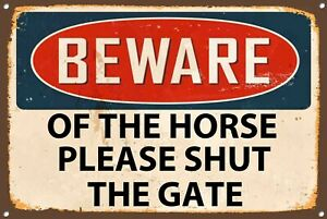 Beware Of The Horse Metal Sign Vintage Style Wall Door House Plaque 1230