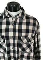 WOOLRICH Black Buffalo Plaid Soft Brushed Flannel Heavyweight Work Shirt sz L